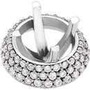 Exquisite Diamond Accented Halo Style Partially Set Setting for Round Gemstones Sized 5.20 mm - 6.50 mm