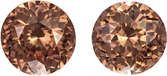 Fiery Rose Brown Tanzanian Zircons in Well Matched Pair in Round Cut, 6.8 mm, 3.24 Carats