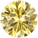 Rich Yellow Sapphire Loose Ceylon Gem in Round Cut, 6.6 mm, 1.24 Carats