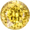 Pure Yellow Zircon Natural Gemstone Tanzania in Round Cut, 10.9 mm, 9.33 Carats