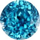 Teal Blue Zircon Loose Gem in Round Cut, 9.1 mm, 5.17 Carats