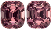 Fiery Pinkish Berry African Garnets in Well Matched Pair in Cushion Cut, 7 x 6 mm, 3.82 Carats - SOLD