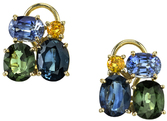 Gorgeous Multi Colored Sapphire Cluster Gemstone 18 kt Gold Earrings - Green, Blue & Yellow Sapphires