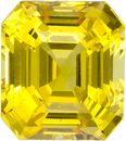 Vibrant Yellow Sapphire Natural Gemstone from Ceylon in Emerald Cut, 8.3 x 7.4 mm, 3.38 Carats