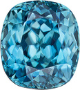 Teal Blue Zircon Loose Gem from Cambodia in Cushion Cut, 8.3 x 7.4 mm, 3.7 Carats