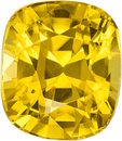 Rich Deep Pure Yellow Zircon Loose Gem in Cushion Cut, 9 x 7.8 mm, 4.53 Carats