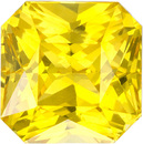 Rich Yellow Sapphire Loose Ceylon Gem in Radiant Cut, 6.3 mm, 2 Carats