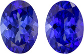 Deep Purple Blue Tanzanites in Well Matched Pair in Oval Cut, 7 x 5 mm, 1.8 Carats