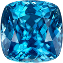 Teal Blue Zircon Loose Gem in Antique Square Cut, 8.4 x 8.3 mm, 4.57 Carats