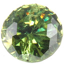 Gleaming Round Demantoid Garnet for SALE - Slightly Yellowish Green, Round Cut, 0.95 carats