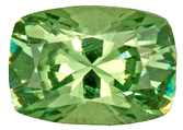 Glittering Intense Greenish Yellowish Demantoid Garnet Gemstone, Antique Cushion Cut, 1.04 carats