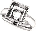 Bezel Set Solitaire Ring Mounting for Square Shape Centergem Sized 4.00 mm to 8.00 mm - Customize Metal, Accents or Gem Type