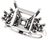 Ring Mounting for Square Shape Centergem Sized 4.00 mm to 10.00 mm - Triple Side Accents - Customize Metal, Accents or Gem Type