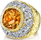 Beautiful 2-Tone 18kt Handmade Ring With 8 ct Gem Citrine Center Stone - Diamond Accents - Scroll & Floral Detailing
