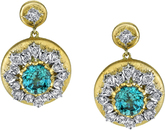 One of a Kind Hand Crafted 2-Tone 18kt Yellow Gold Round 7 carats of Blue Zircon Post Back Dangle Earrings - Diamond Accents