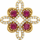 14KT Yellow Gold Ruby & 1/6 Carat Total Weight Diamond Clover Pendant