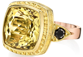 Incredible Hand Carved Bezel Set 5.89ct Cushion Cut Golden Beryl 2-Tone Ring With Black Diamond Side Accents