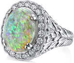 Exquisite 3.7ct Super Gem Crystal Black Opal Ring With Diamond Accents in 18kt White Gold - Hand Carved