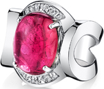 Bold Handmade 8ct Cabochon Oval Pink Tourmaline Ring in 18kt White Gold With Diamond Baguette Accents - SOLD