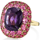 Stunning Colors in Unheated 8 carat Genuine Purple Sapphire Hand Crafted Ring With Pink & Red Spinel Gemstone Halo