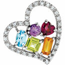 14KT White Gold Multi-Gemstone & 1/6 Carat Total Weight Diamond Pendant