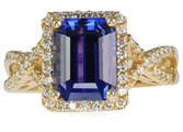 Amazing Price!  Huge Gemmy 4ct 10x8mm Tanzanite set in Diamond Pave 14 kt Gold Mounting