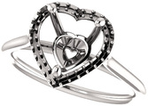 Heart Halo Solitaire Engagement Ring Mounting for 5.00 mm - 10.00 mm Center - Customize Metal, Accents or Gem Type