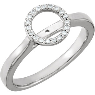 Gorgeous Halo Style Diamond Accented Ring Shank in 14kt Gold With Span 5.20 mm to 9.00 mm