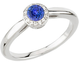 Beautiful Affordable Top Quality AAA .8ct 5.8mm Tanzanite Gemstone set in Luxury Diamond Ring