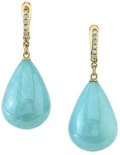 Fashionable Drop Style Turquoise Dangle Earrings in 18kt Yellow Gold - Diamond Accents