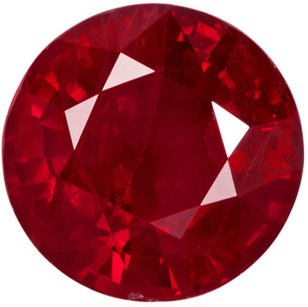 Vivid Rich Red Loose Ruby Gemstone in Large Round Cut, 6.2 mm, 1.17 carats