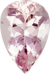 Peach Pink Morganite Madagascar Faceted Stone in Pear Cut, 11.2 x 7.7 mm, 2.46 Carats