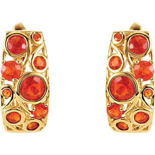 Bold and Lively .94ct Mexican Fire Opal Studded Huggies Style 14k Yellow Gold Earrings for SALE - 18 Bright Mexican Fire Opal Gems Sized 1.5-4mm