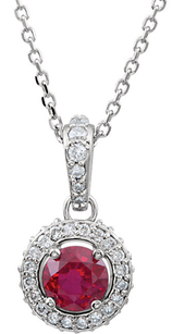 Beautiful 14k White Gold Genuine .46ct 4.50mm Ruby Entourage Pendant - 1/4 ct Diamond Accents - FREE Chain