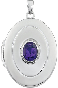 Beautiful .72ct 7x5mm Oval Shape February Birthstone Sterling Silver Locket - Bezel Set Amethyst - FREE Chain