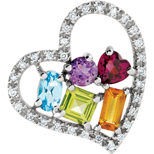 Fun Diamond Studded Open Heart Pendant Filled With a 1.52ct Rainbow of Colored Gems - Amethyst, Citrine, Garnet, Topaz & Peridot - FREE Chain