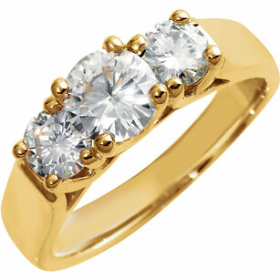 14KT Yellow Gold 6mm Forever Classic Moissanite Three-Stone Anniversary Band