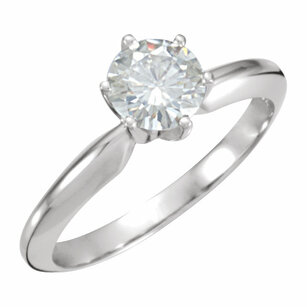 14KT White Gold 6mm Round Forever Classic™ Moissanite Engagement Ring