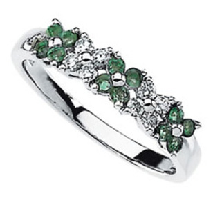 Intricate Natural 14 kt Gold Band Ring for SALE -  .3ct 1.80 mm Emeralds & Diamonds in Flower Shapes