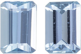 Calibrated Aquamarine Pair in Emerald Cut in Sky Blue Color in 7 x 5 mm, 1.58 carats