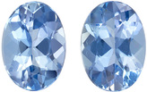 Rich Blue Aquas Well Matched Pair in Oval Cut in 7 x 5 mm, 1.55 carats