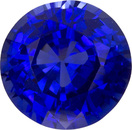 Blue Sapphire Loose Engagement Ring Gem in Round Cut, Vivid Rich Blue Color, 6.4 mm, 1.34 carats