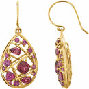 14KT Yellow Gold Rhodolite Garnet Nest Design Earrings