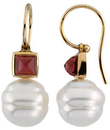 South Sea Cultured Pearl & Rhodolite Garnet Earrings