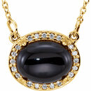 14KT Yellow Gold Onyx & .05 Carat Total Weight Diamond Halo-Style 16