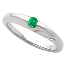 Stackable & Trendy Band Ring With Gorgeous Round 0.4 carat 4.00 mm Emerald Gemstone Solitaire Center