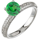 Diamond Studded Pave Gold Ring in 14 kt White set with .55ct 5mm GEM Grade Tsavorite Garnet Round Cut for SALE