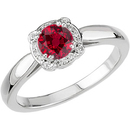 Unusual 8 Prong Diamond Ring set with Stunning .76ct 5mm Round cut Ruby-Super GEM Ruby Stone for SALE