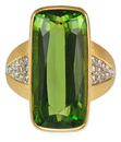 Unusual Barrel Cut Peridot & Diamond Bezel Handmade Ring  - SOLD