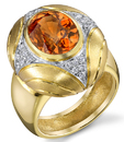 Hot Orange Spessartite Garnet Bezel set with Diamonds Classic Christoph Designer Ring - SOLD